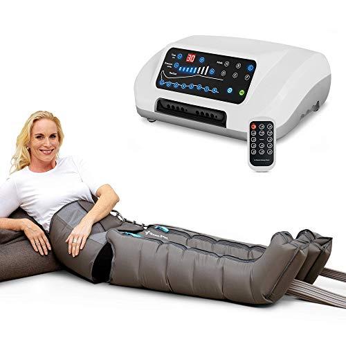 Vein Angel ® 8 Premium apparecchio per massaggi con fascia addominale & gambali, 8 camere d\'aria disattivabili, pressione & durata facilmente regolabili, 6 programmi di massaggio