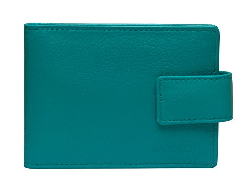 SADDLER Womens Luxurious Real Leather Bifold Credit Card Holder with Tab | Slim Minimalist Wallet | Designer Credit Card Wallet for Ladies | Gift Boxed - Teal