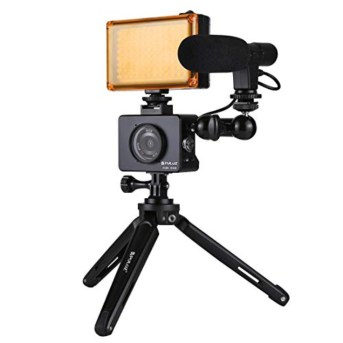 Para Sony RX0 Carcasa Carcasa Aleación de aluminio Jaula + Cabeza de bola giratoria Brazo mágico + Soporte de trípode de escritorio + Photo Studio Light + Video Kits de micrófono de escopeta (Negro) W