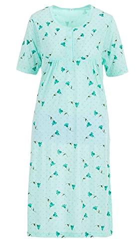 Romesa Damen Nachthemd kurz Baumwolle Schlafshirt Blumen, Größe:XL, Farbe:Türkis