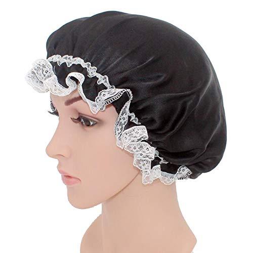 WJH Sleeping Cap pour Les Femmes en Soie Naturelle avec Sommeil Caps Bande élastique pour Cheveux Perte de Sommeil sur la Protection des Cheveux (2 pièces),Noir