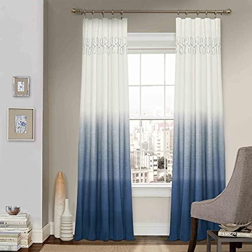 "Vue Arashi Rod Pocket Curtains for Living Room, Single Panel, 52"" x 63"", Indigo"