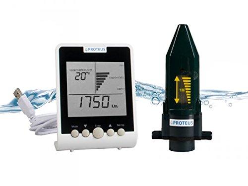 Füllstandsanzeige für Zisterne, Regenwassertank mit Funk-Display. Batteriebetriebener Ultraschall Füllstandssensor mit separatem Funk-Display - EcoMeter S - Funkübertragung bis zu 150m