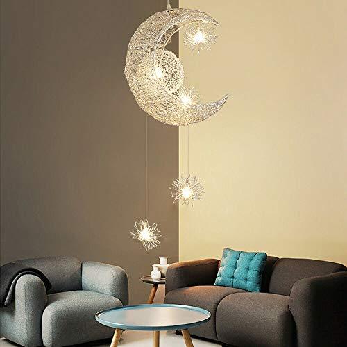 Oukaning Lampadario a sospensione per bambini, moderno, a LED, a forma di stella, nuvola e luna, da appendere, per soggiorno, camera da letto, soggiorno