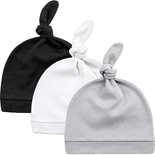 KiddyCare Newborn Hospital Hats Autumn Winter Soft & Warm Knotted Cap for Boys and Girls - Organic Baby Hats 0-6 Month Old