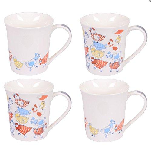Table Passion - Coffret 4 mugs 35cl poules méli mélo