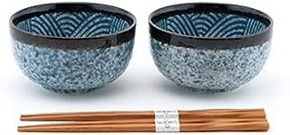 Fuji Merchandise Japanese Porcelain Multi Purpose Tayo Bowl Blue Seigaiha Design Set of 2 with Chopsticks Gift Set Made In Japan