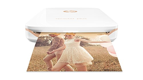 HP Sprocket Plus Instant Photo Printer, Print 30% Larger Photos on 2.3x3.4 Sticky-Backed Paper – White (2FR85A)