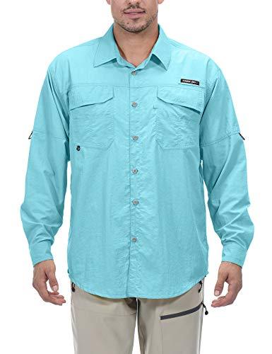 Little Donkey Andy - Camiseta de manga larga para hombre con protección UV UPF 50+, repelente de mosquitos, Large, Azul