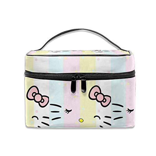 Cosmetic Bag Light Colors Hello Kitty Face Portable Travel Makeup Bag Cosmetics Organizer Multifunction Toiletry Bags Storage Case