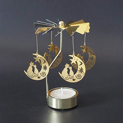 Fat Mashroom Candelieri Rotazione Romantica Rotazione Filatura Carosello Tea Light Portacandele Natale Casa Festa Matrimonio Illuminazione Angelo, Gatto resta sulla Luna