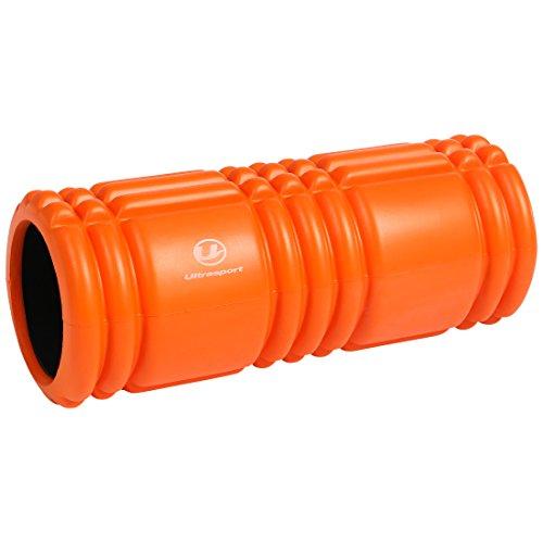 Ultrasport Faszienrolle für die Massage von Triggerpunkten, ergonomischer Foam Roller mit Massagestruktur, orange Länge 33cm x  Ø 14cm