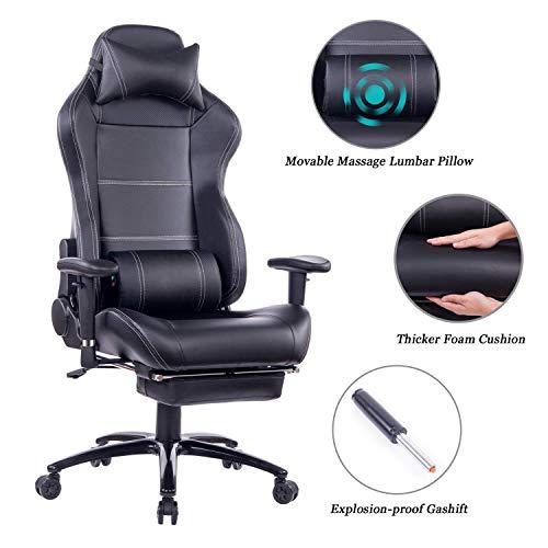 Wolmics Massage Gaming Stuhl mit Fußstütze Matel Base-Memory Foam Verstellbare Rückenlehne Liegender PC Computer Video Gamer Stuhl Racing Game Stühle PU Leder Schreibtisch Bürostuhl 8263 Schwarz