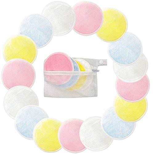 Coussins démaquillants réutilisables avec sac à linge lavables 3 couches de coton lavable en bambou lavables Coussinets d'allaitement doux pour le maquillage des yeux Retirez le chiffon pour le visage