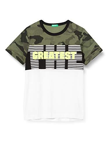 Benetton T-Shirt Camiseta de Tirantes, Multicolor (Bianco/Verde 901), 152 (Talla del Fabricante: El) para Niños
