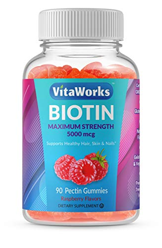 WellWorks Biotin Gummies 5000mcg – Great Tasting Natural Flavor Supplement Vitamins – Vegetarian GMO-Free Chewable – for Hair and Nails Growth & Beautiful Hair – for Men, Women and Teens – 90 Gummies