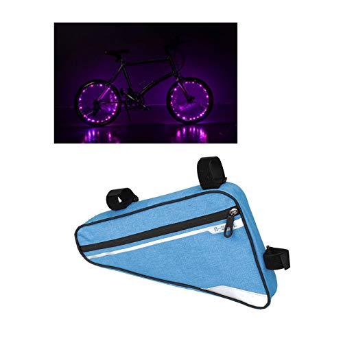 UYTTlhk Bolsa de triángulo de bicicletas, regalar LED LED Luces de ruedas de bicicleta 2 piezas, bolso de ciclismo a prueba de agua a prueba de agua, para teléfono, billetera, llaves, kit de herramien