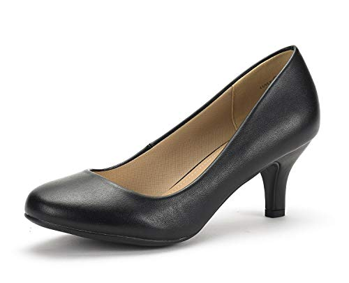 DREAM PAIRS Women's Luvly Black Pu Bridal Wedding Low Heel Pump Shoes - 8 M US