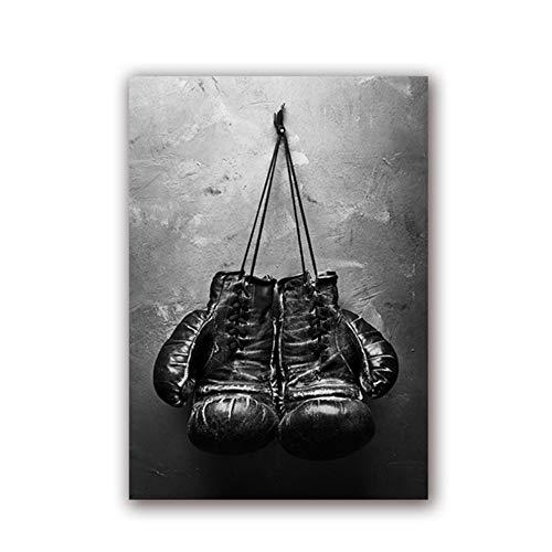 YANGMENGDAN Druck auf Leinwand Vintage Art Boxhandschuhe Poster Schwarz-Weiß-Wandbild Sportgemälde für Wohnzimmer Wohnkultur 40 x 60 cm (15,7