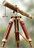 De Cube Vintage Brass Telescope with Best DF Lens and Adjustable Tripod Stand Makes it Perfect for Kids and Beginners, Office Table Home Decor Ascent, Collectible (Antique Patina on Brass)