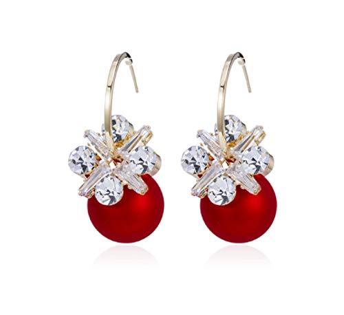 Pendientes de perlas rojas, nobles y elegantes, simples pendientes de plata pura para mujer 2021, nueva moda, exquisitos pendientes brillantes que muestran una cara pequeña
