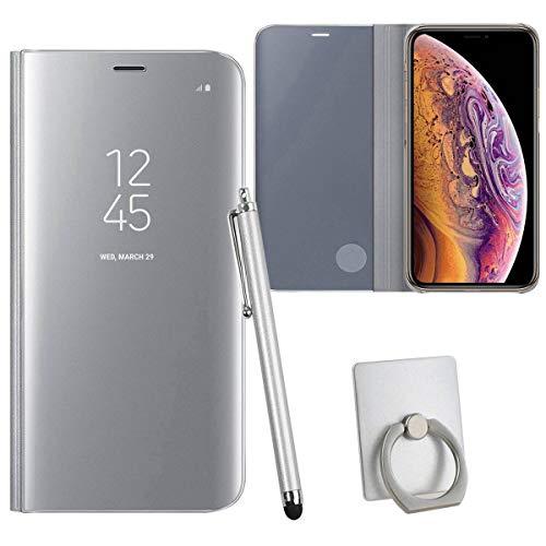 Sangrl Hülle Für Xiaomi Mi 5C, Mode Ultra Dünn Handyhülle Schutz Löschen Clear View Mit Halterung Electroplating Flip Schutzhülle Hülle Für Xiaomi Mi 5C - Silber