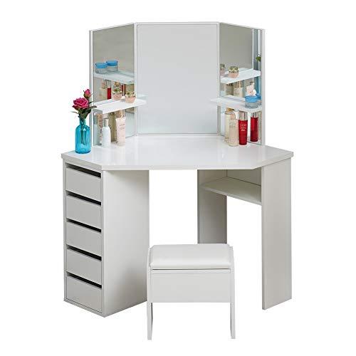 TUKAILAI Blanc Bureau de maquillage avec 5 tiroirs, 3 miroirs et tabouret, Coiffeuse, Table de Maquillage, Forme incurvée