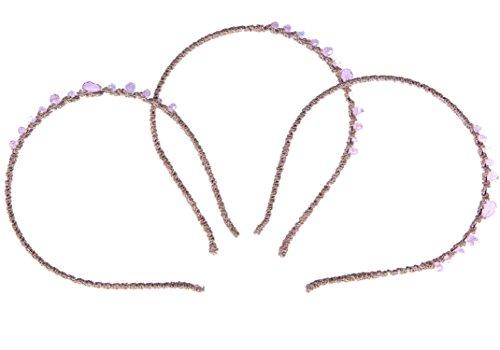 【INNOVATION FACTORY】 キラキラ 可愛い カラフル 7種類 3本セット 編み込み 痛くならない カチューシャ ヘアーバンド シュシュ 髪留め 髪飾り ジュエリー オシャレ かわいい ヘッドアクセサリー ジュエリーポーチ付属 (ピンク)