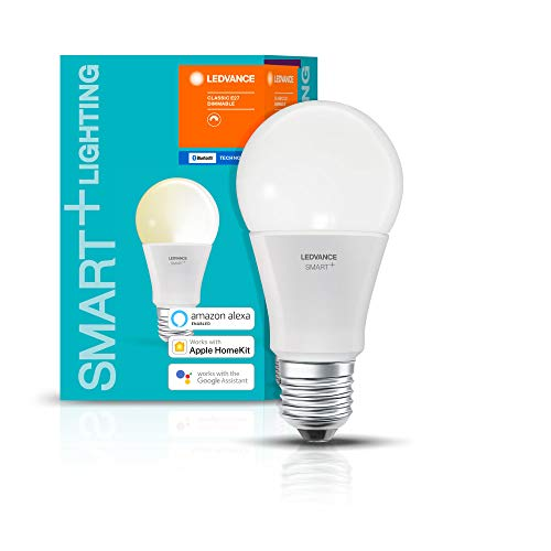 LEDVANCE SMART+ LED Bluetooth lámpara con casquillo E27, regulable, sustituye a bombilla de 60 W, blanco cálido, compatible con Apple Homekit y LEDVANCE Smart+ App para Android