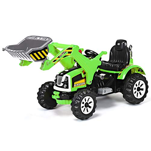 Costzon 12V Battery Powered Kids Ride On Excavator, Electric Truck with High/Low Speed, Moving Forward/Backward, Front Loader Digger (Green)