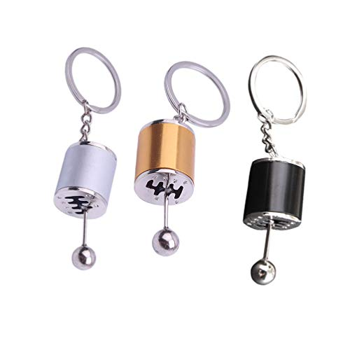 NUOBESTY Auto Getriebe Schlüsselbund Teil Modell Gangschaltung 6 Gang Getriebe Form Anhänger Schlüsselanhänger Geschenk Schlüsselbund 3-TLG
