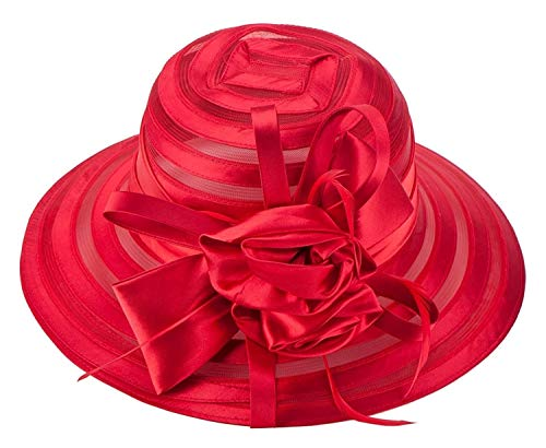Couloir Tapis De Passage Derby Soleil Femmes Mariage Église Satin Kentucky Chapeau Femme Organza Coiffe Église Kentucky Marseille Hat Flower Tea Party De Mariage Cap (Color : Red)