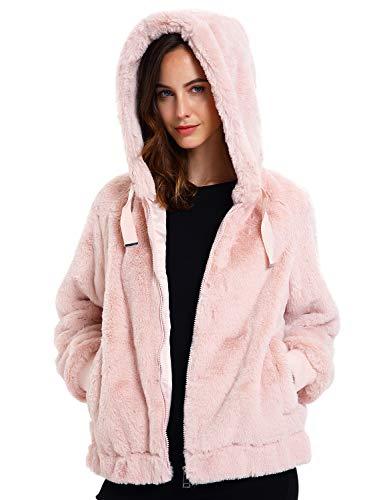 Geschallino Damen Soft Kunstpelz Kapuzenjacke, 2 Taschen Kurzmantel Outwear Warm Fluffy Fleece Tops für den Winter, Frühling, Rosa, XXL