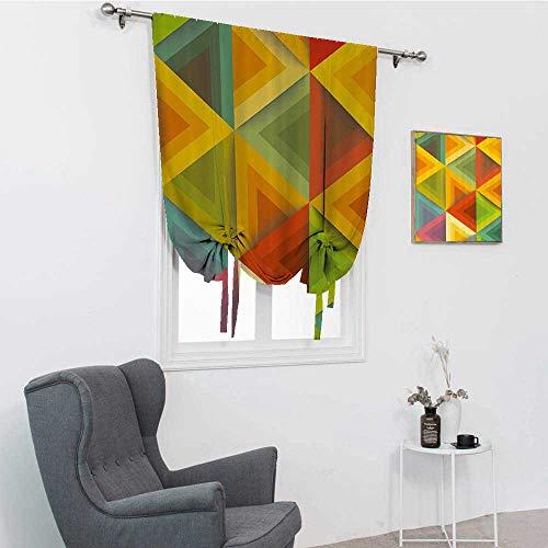 Cortinas cortas geométricas, triángulos gráficos en tonos cálidos, estilo vintage, diseño de azulejos con impresión de ilustraciones, cortina de baño, multicolor, 48 x 64 pulgadas