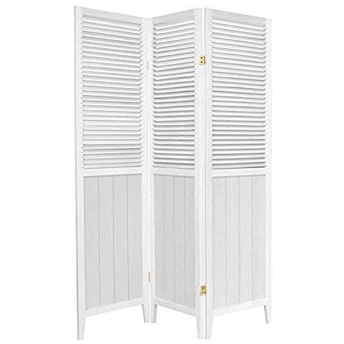 Oriental Furniture 6 ft. Tall Beadboard Divider - White - 3 Panels