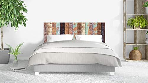 Cabecero Cama PVC Impresión Digital sin Relieve Imitación Colores Antiguos Madera 135 x 60 cm | Disponible en Varias Medidas | Cabecero Ligero, Elegante, Resistente y Económico