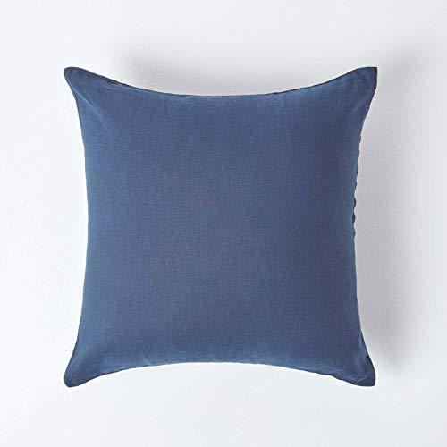 HOMESCAPES Funda de almohada de lino suave europeo, color azul marino, con textura continental, fibra de lino francés, 100% mezcla de algodón, cuadrada, 80 x 80 cm