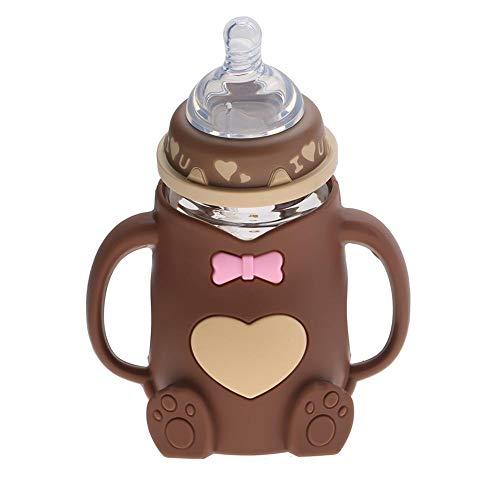 Biberón, biberón infantil de lactancia antirreflejo resistente al calor de silicona para bebés con asas(café)