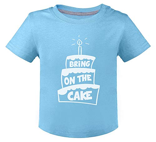 Anniversaire Bring on The Cake T-Shirt Bébé Unisex 12M Bleu Ciel