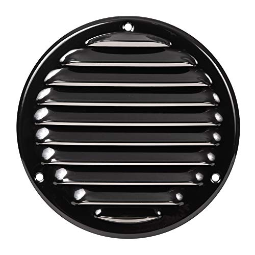 Vent Systems Soffit Vent Cover - Round Air Vent Louver - Grill Cover - Built-in Insect Screen - HVAC Vents for Bathroom, Home Office, Kitchen 5'' Inch Black