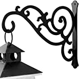 HongKim 11-Inch Iron Plant Wall Hanger Decorative Outdoor Metal Hanging Plant Bracket Hook for Basket Planter Bird Feeder Windchime Lantern, Black