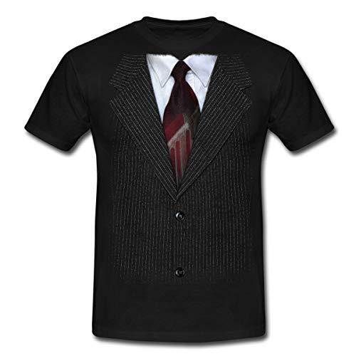 Anzug Mit Krawatte Scherz Männer T-Shirt, L, Schwarz