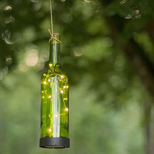 LED Solar-Leuchte Bottle, dekorative Glas-Flasche | Außen-Lichterkette mit Deko für Garten Terrasse Balkon | Photovoltaik, Partylicht IP44 Laterne mit Batterie & Dämmerungssensor | Bier, Wein Grün