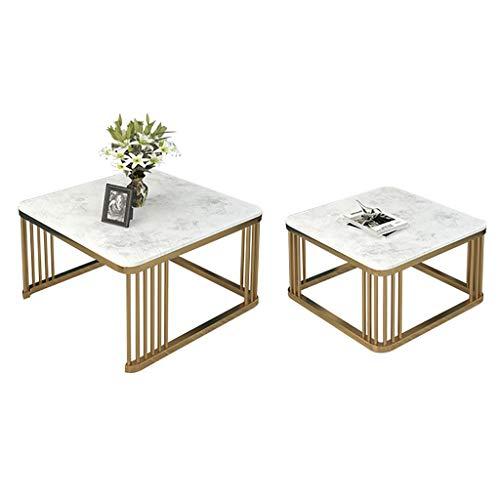 FZH 2 placemats van marmer, wit, woonkamermeubels, sofa, salontafel, vierkant, bijzettafel, nestafel, modern, goudkleurig