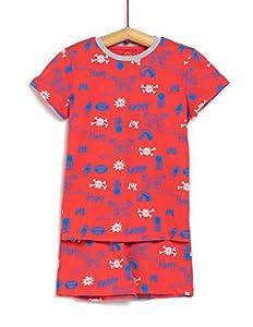 TEX - Pijama Corto 2 Piezas Estampado para Niño, Rojo Mate, 13-14 años