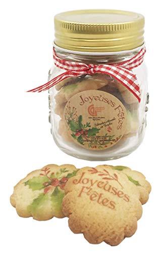 Bonbonnière gourmande en verre chocolat de noel - cadeau coffret chocolat de noel (Version 50g biscuits)