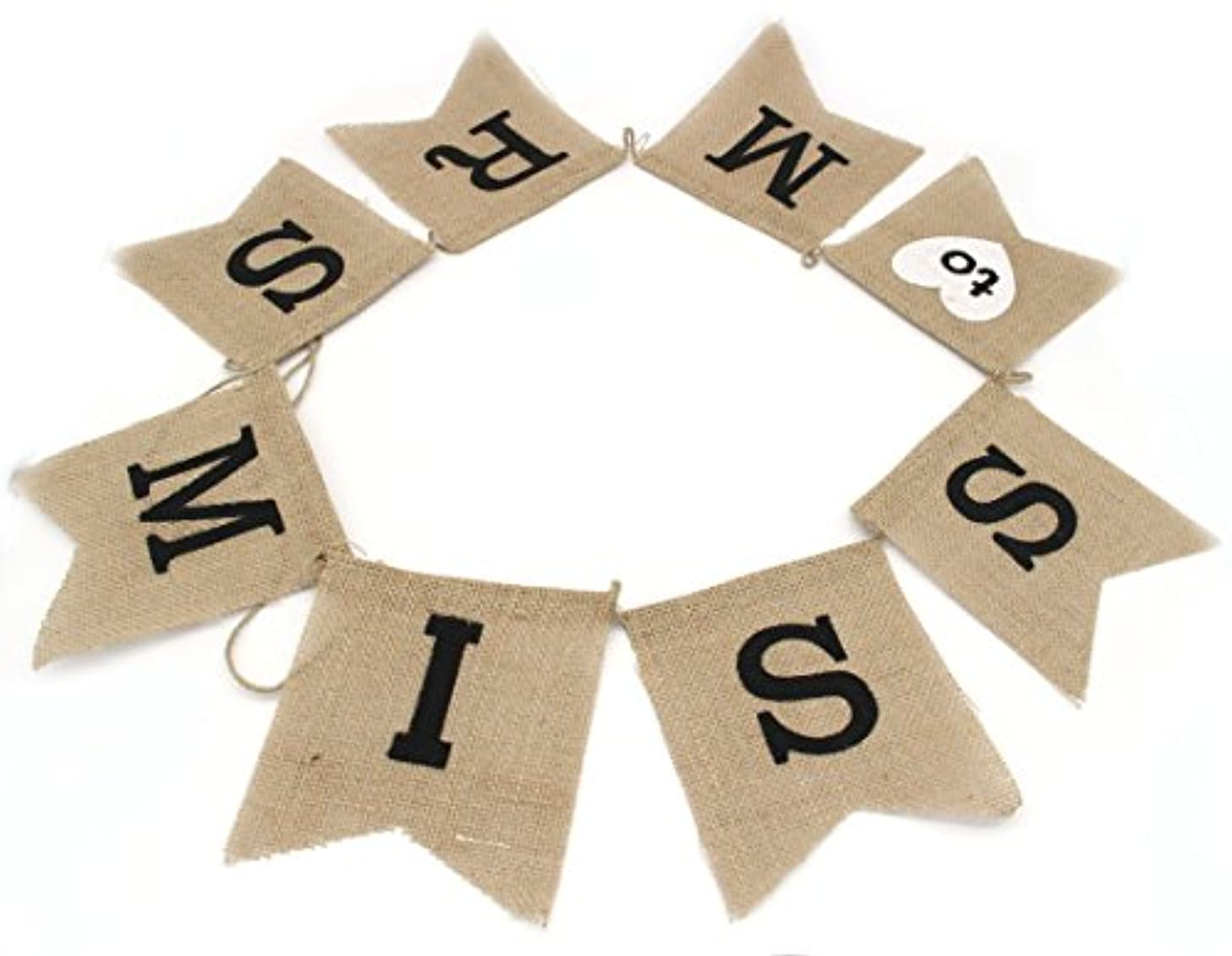 Junxia Miss to Mrs Natural Burlap Banner for Party or Wedding Decoration