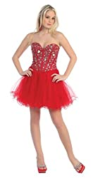Red Strapless Cocktail Party Short Mirror Prom Dress