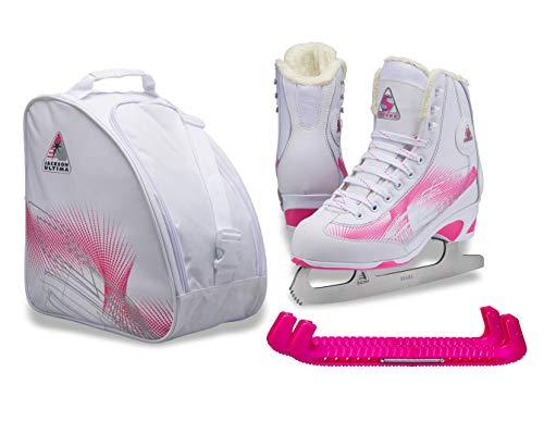 SKATE GURU Jackson Ultima Rave RV2001 Girl's Figure Ice Skates Softec, Color: White/Pink, Size: Kids Toddler 8 Bundle with Free Bag and Guardog Skate Guards