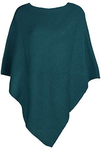 styleBREAKER Damen Feinstrick Poncho einfarbig, Ärmellos, Rundhals, Cape, Überwurf, Strickponcho, Einheitsgröße 08010078, Farbe:Petrol